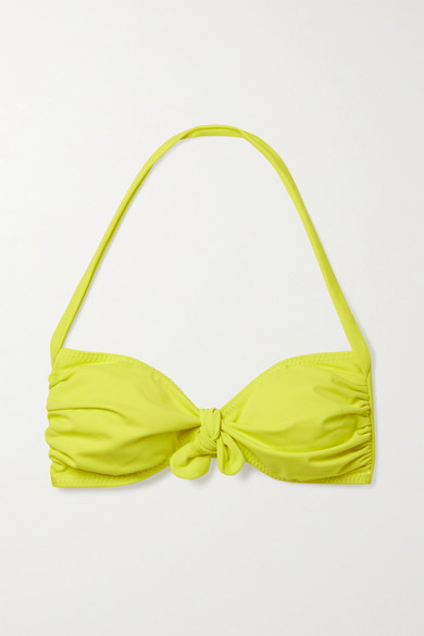 Thumbnail for your product : Norma Kamali Tie-front Ruched Halterneck Bikini Top - Chartreuse