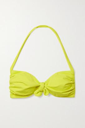 Norma Kamali Tie-front Ruched Halterneck Bikini Top - Chartreuse