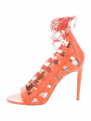 Altuzarra Snakeskin Animal Print Gladiator Sandals Orange