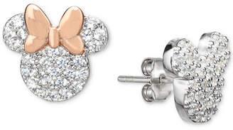 Disney Cubic Zirconia Mismatch Stud Earrings in Sterling Silver & 18k Rose Gold-Plate