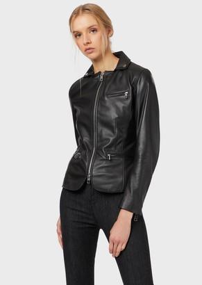Emporio Armani Semi-Aniline Lambskin Nappa Leather Jacket With Studs