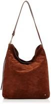 Halston Elsa Large Suede and Leather Shoulder Bag