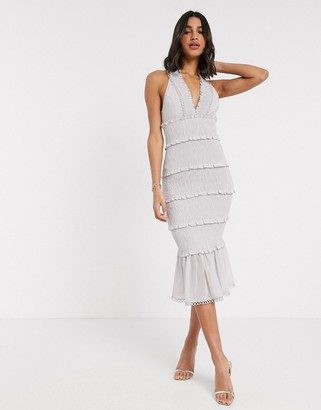 ASOS DESIGN shirred midi dress with v neck and ruffle detail