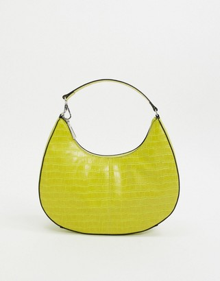Who What Wear Seeley 90s shoulder bag in lime croc