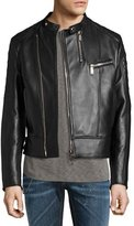 DSQUARED2 Leather Café Biker Jacket, Black