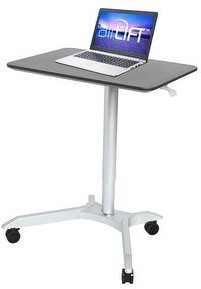 Seville Classics AIRLIFT White XL 28 in Sit-Stand Mobile Desk With Adjustable Height Range 27.1 in to 41.9 in