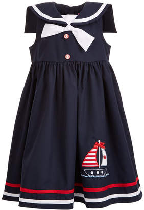 Good Lad Little Girls Nautical-Collar Sailboat Dress