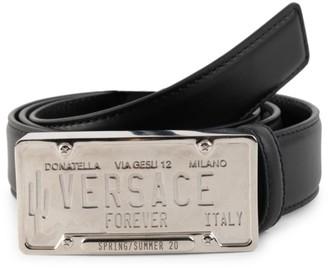 Versace Logo License Plate Leather Belt