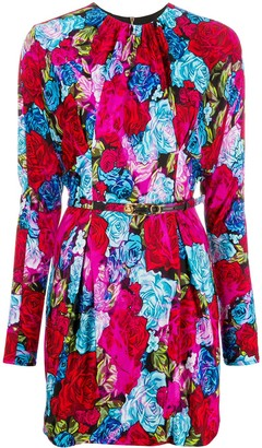 Versace Rose-Print Safety Pin Dress