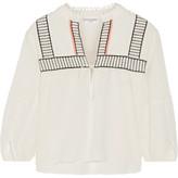 Apiece Apart Loreto Embroidered Cotton-crepon Top - Off-white