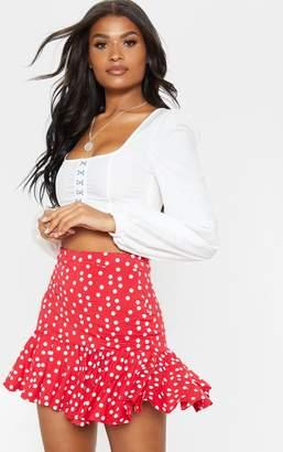 PrettyLittleThing Red Polka Dot Frill Hem Mini Skirt