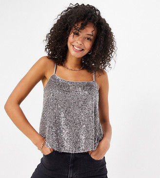 Asos Tall ASOS DESIGN Tall sequinned scoop-neck cami in silver