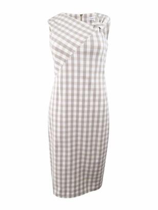 Calvin Klein Women's Gingham Printed Sheath with Asymmetrical Neckline Dress