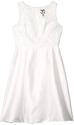 Adrianna Papell Illusion Guipure Mikado Dress (Ivory) Women's Dress
