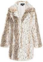 Quiz Beige And Grey Leopard Print Faux Fur Jacket