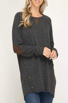 She + Sky Faux-Suede Button Tunic