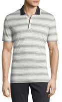 Salvatore Ferragamo Linen-Cotton Blend Nautical Striped Polo Shirt with Gancini