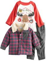 Nannette Baby Boy 3-pc. Plaid Jacket, Raglan Tee & Pants Set