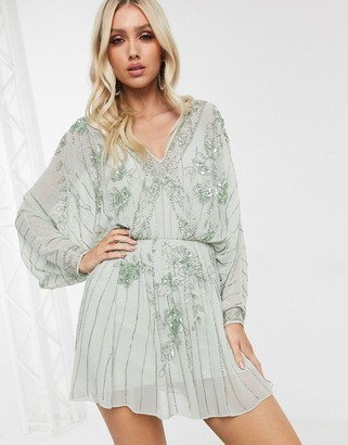 ASOS DESIGN cape kimono embellished mini dress
