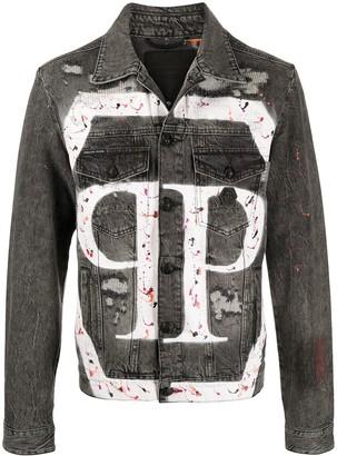 Philipp Plein Distressed Logo Denim Jacket