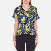 Moschino Women's VNeck Printed Blouse with Collar - Multi