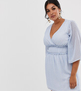 Fashion Union Plus plunge front dress in gingham