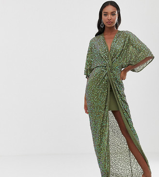 Asos Tall DESIGN Tall scatter sequin knot front kimono maxi dress-Green