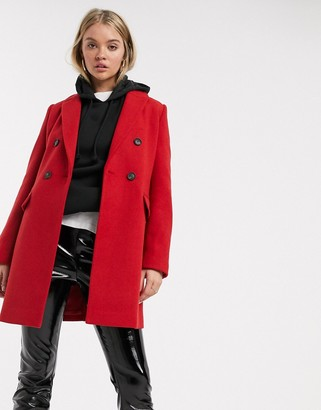 Stradivarius double-breasted tailoring coat in red