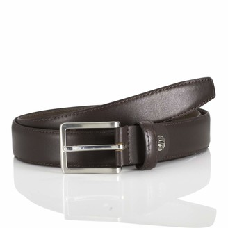LINDENMANN men's leather belt/men's belt leather belt mogano Groe/Size:120
