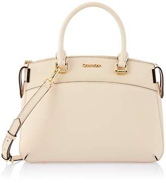 Calvin Klein womens Raelynn Saffiano Leather Top Zip Satchel
