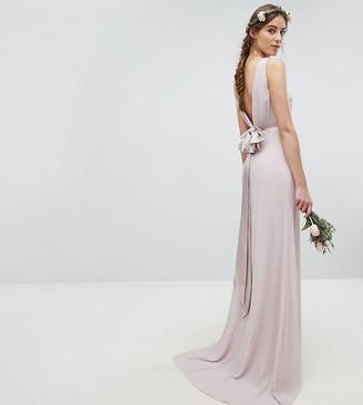 TFNC Tall Tall wedding sateen bow back maxi dress