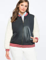ELOQUII x Katie Sturino Faux Leather Shearling Bomber