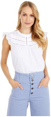 Lucky Brand High Neck Shell (Bright White) Women's Clothing
