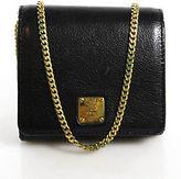 MCM Black Leather Gold Accent Small Chain Strap Shoulder Handbag