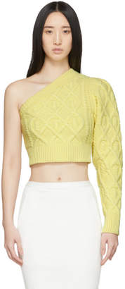 Wandering Yellow Single Shoulder Cropped Sweater