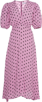 Faithfull The Brand Vittoria Polka Dot Crepe Midi Dress