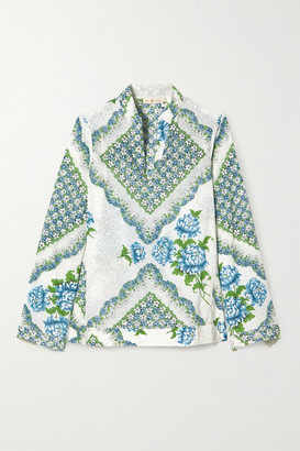 Tory Burch Floral-print Cotton-voile Blouse - Off-white