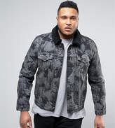 Asos Plus Denim Jacket With Bleach Effect And Borg Collar In Grey