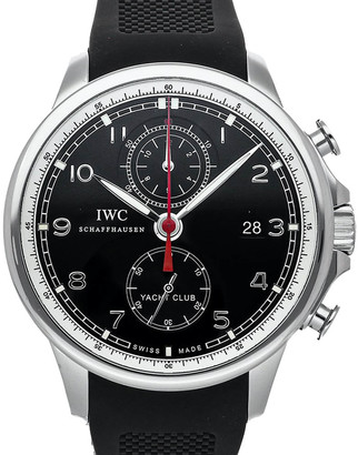IWC Black Stainless Steel Portuguese Yacht Club Chronograph IW3902-04 Men's Wristwatch 45 MM