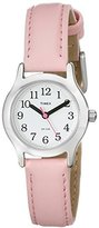 Timex Kid's T79081 Quartz Watch with White Dial Analogue Display and Pink Leather Strap