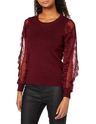 New Look Women's LACE Sheer Sleeve Jumper,(Size:)