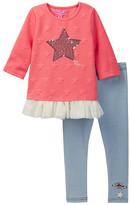Betsey Johnson Sequin Star Applique Top & Knit Denim Legging Set (Toddler Girls)
