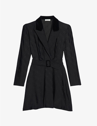 Sandro Abys contrast-lapel crepe dress