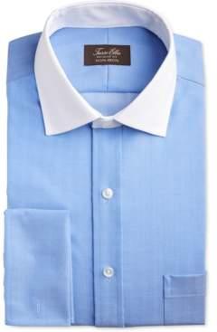 Tasso Elba Men's Slim-Fit Non-Iron Stretch Herringbone French Cuff Dress Shirt, Created for Macy's