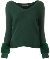 Simonetta Ravizza fur-trim fitted sweater