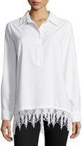 Neiman Marcus Crochet-Trim Long-Sleeve Tunic Top, White