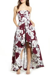 Speechless Floral Print Strapless High/Low Dress