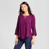 U-knit Women's Lace Back Blouse with Lattice Neck