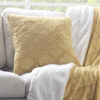 Charlton Home Maryetta Diamond Trellis Faux Fur Throw Pillow Cover Color: Yellow