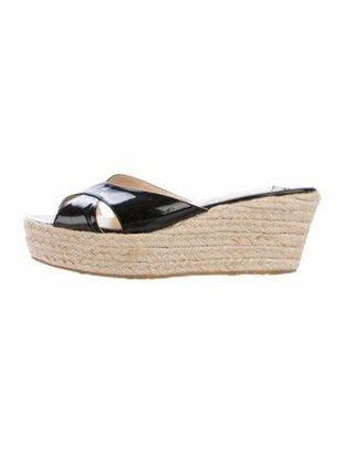 Jimmy Choo Patent Leather Round-Toe Espadrilles Black